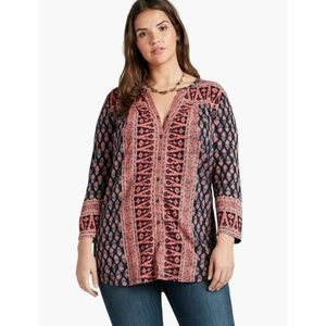 NWT Lucky Brand Woodblock Printed Top 1X Knit